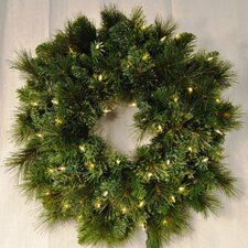 Pre-Lit Incandescent Blended Pine Wreath