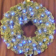 Pre-Lit LED Blue Sequoia Wreath
