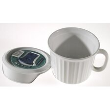 <strong>World Kitchen</strong> 20 oz. French White Mug with Blue Vented Plastic Lid