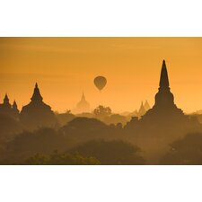 Sunrise Over Ancient Bagan Myanmar Photographic Print on Canvas