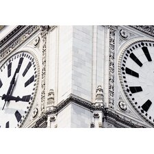 Close-Up of a Clock Tower in Chicago Photographic Print on Canvas