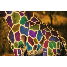 Rainbow Giraffe Graphic Art on Canvas