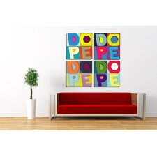 "4 Piece ""Dope Colors"" Textual Art on Canvas"