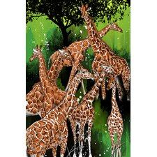 """Group of Giraffe"" Painting Prints on Canvas"