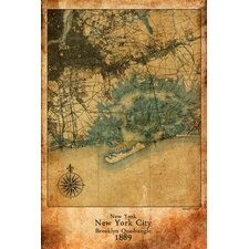 """""""Map New York City"""" Graphic Art on Canvas"""