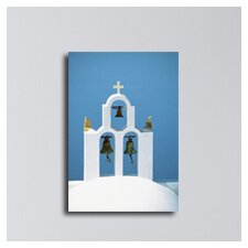 Greece Bells at the Church Santorini Photographic Print on Canvas