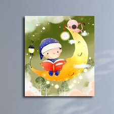 Boy Reading a Bedtime Story Graphic Canvas Art