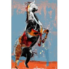 Fighting Horse Graphic Art on Canvas