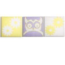 Sweets Pretty Owl Flowers Canvas Print (Set of 3)