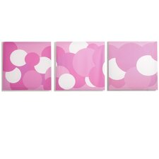 Rose Pink Bubbles Canvas Print (Set of 3)