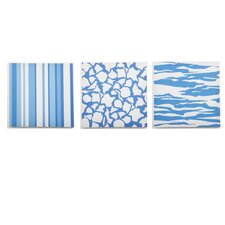 3 Piece Sky Baby Boy Strips and Stripes Canvas Art Set
