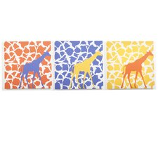 3 Piece Rusty Giraffe Walk Canvas Art