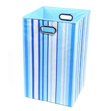 <strong>Modern Littles</strong> Sky Stripes Canvas Folding Laundry Basket