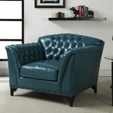 Peacock Leather Club Chair