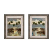 Cool Palms Button Framed Art (Set of 2)