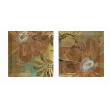 Floral Abstraction 2 Piece Painting Print Plaque Set