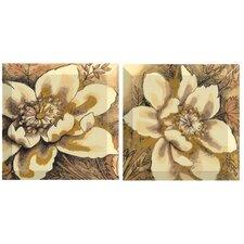 Golden Elegance 2 Piece Graphic Art Plaque Set