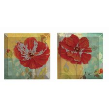 Red Poppies 2 Piece Graphic Art Plaque Set