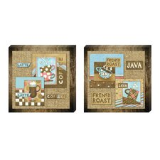 Retro Coffee Collage Canvas Art (Set of 2)