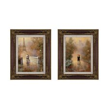 Romantic Stroll 2 Piece Framed Painting Print Set