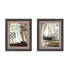 Blue Sailing Race Button 2 Piece Framed Painting Print Set