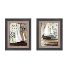 <strong>Elico LTD</strong> Blue Sailing Race Button Framed Art (Set of 2)