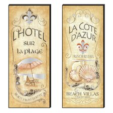 Beach Front Luxury Cutout 2 Piece Vintage Advertisement Plaque Set