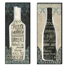 Wine Collection Cutout 2 Piece Textual Art Plaque Set