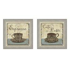 Cafe Latte 2 Piece Framed Graphic Art Set