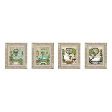 Blue Safari Bath Framed Art (Set of 4)