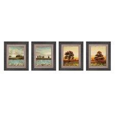 Open Horizon 4 Piece Framed Painting Print Set