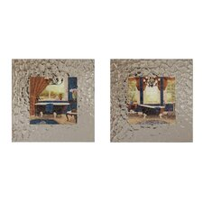 <strong>Elico LTD</strong> Blue Chandelier Bath Framed Art (Set of 2)