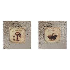 Vintage Bath 2 Piece Framed Graphic Art Set