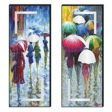 Color Me Rain Cutout 2 Piece Painting Print Plaque Set