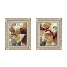 Plum Blossom Button 2 Piece Framed Painting Print Set