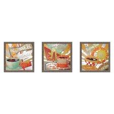 Bright Lite Coffee 3 Piece Framed Graphic Art Set