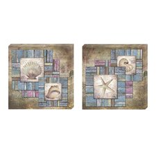<strong>Elico LTD</strong> Beach Shell Collage Canvas Art (Set of 2)