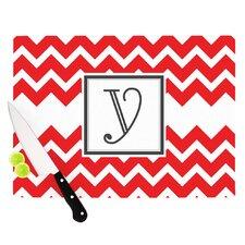 Monogram Chevron Red Cutting Board