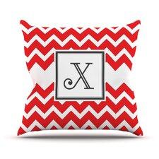 Monogram Chevron Red Throw Pillow