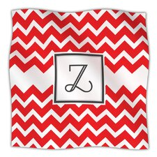 Monogram Chevron Red Microfiber Fleece Throw Blanket
