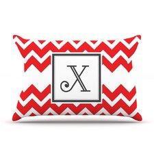 Monogram Chevron Red Pillow Case