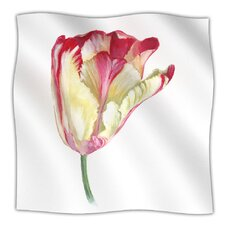 Red Tip Tulip Microfiber Fleece Throw Blanket