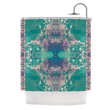 Ashby Blossom Teal Polyester Shower Curtain