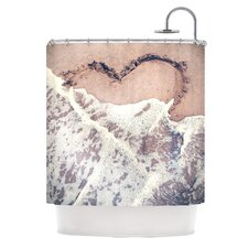 Heart in The Sand Polyester Shower Curtain