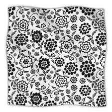 Cherry Floral White Microfiber Fleece Throw Blanket