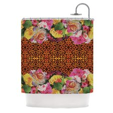 New Rose Eleo Polyester Shower Curtain