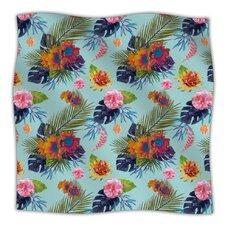 Tropical Floral Fleece Throw Blanket