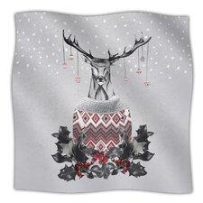 Christmas Deer Snow Fleece Throw Blanket