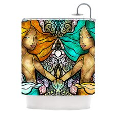 Mermaid Twins Polyester Shower Curtain