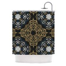 Golden Fractals Polyester Shower Curtain